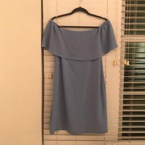 Baby blue strapless dress.